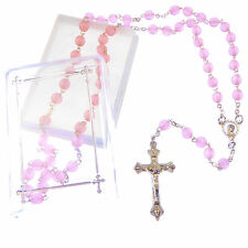 Catholic pink imitation pearl rosary beads in gift box large necklace