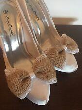 BIANCO Pizzo Nuziale shoe Clips Fiocchi Iuta Per Scarpe centro nastro di raso pizzo Trim