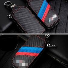 Black Carbon Fiber Fashion Leather Car Remote Key Chain Keyring Holder Case Bag