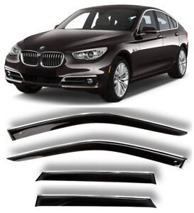 Chrome Trim Side Window Visors Guard Vent Deflectors For BMW 5 F07 GT 2010-2016