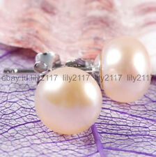 AA Grade 12-13mm Pink Akoya Pearl Silver Stud Earrings