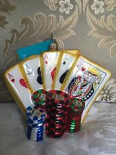 """Christopher Radko Christmas Ornament-""""Las Vegas Playing Cards with Chips""""."""