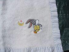 BABY LOONEY TUNES ACRYLIC BLANKET BUGS BUNNY TWEETY BIRD EMBROIDERY NYLON TRIM