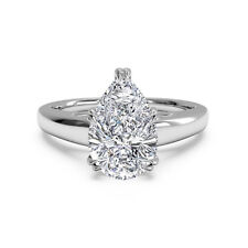 Pear Cut 2.00 Ct Lab Created Diamond Engagement 14K White Gold Rings