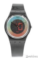 New Swiss Swatch Originals SPEED AROUND Black Silicone Watch 34mm GB277 $60