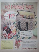 1958 Royal Crown RC Cola Bottles Carton Picnic Basket Offer Color Original Ad