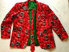 Men's CHRISTMAS Cat Holiday Sport's Coat Blazer & Tie Sz XL (46-48) Ugly Sweater