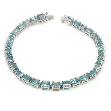 De Buman Sterling Silver Natural Blue Zircon Bracelet