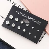 Wholesale A Set Of 6 Pairs Clear Crystal Ear Studs Earrings Shinny UK