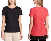 Calvin Klein Ladies Stretch Textured Tee Shirt, Black/Red, Size S M L XL XXL NWT