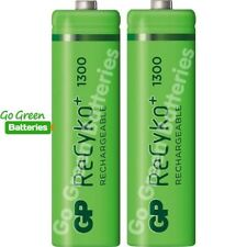 2 x GP Recyko AA 1300mAh Rechargeable NiMH Batteries Stay Charged HR6