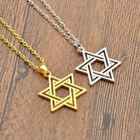 Fashion Star of David Silver/Gold Statement Chain Charm Pendant Necklace Jewelry