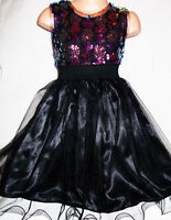 GIRLS MULTI COLOUR SPARKLY SEQUIN BLACK TULLE CONTRAST PAGEANT PROM PARTY DRESS