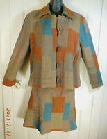 Vtg. Women's Wool Two Piece Suit Patchwork Pattern Sz 10 Regular Skirt & Jacket