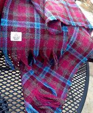 Harris Tweed Scarf Shawl Wool Ruby Red Burgundy Magenta Pink Teal Blue Bright