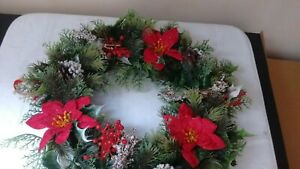 Christmas Wreath with Storage Bag - Red Poinsettia