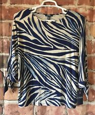 Chaps Blouse Top Womens Large 3/4 Dolman Sleeve Hazy Night Blue Print (Y29)