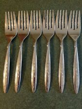 Oneida LTD Rogers Stainless Salad Dessert Forks Lot Of 6 Sunburst Stars