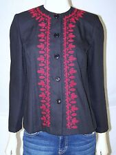 Courtenay Black Red Long Sleeve Crewneck Button Front Top Womens Size 6 Small