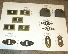 11 Vintage Escutcheon Keyhole Covers plus 2 Locks