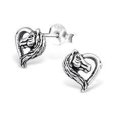 925 Sterling Silver Heart Horse Pony Kids Girls Women Stud Earrings Jewellery