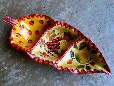 "Italica ARS Hand Painted Italian Ceramic Pottery Relish Serving Dish 18"" x 8"""