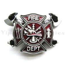 Fire Department Fire Fighter Red Metal Fashion Belt Buckle