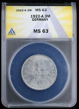 1922-A Germany 3 Mark ANACS MS 64 Weimar Republic