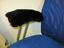 "BLACK 10"" Long Real Merino Sheepskin Arm Rest Covers Pad Office Wheel Chair Arms"