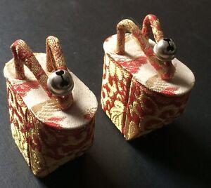 "Vintage Pair of Japanese Geta Okobo Miniature Shoes/Sandals , 2"" x 2 1/4"""