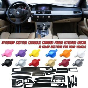 5D Carbon Fiber Vinyl Film Interior Center Console Sticker For BMW E60 06-10