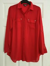 PRIMARK womens red chiffon blouse long sleeved shirt size 10 great condition