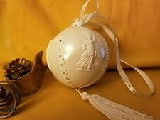 Vintage Wedgwood Cameo Relief Ball Ornament White Tasseled Original Box
