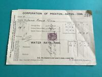 Corporation of Preston Rates Water Rates 1898   receipt R34833