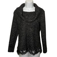 White House Black Market Womens Sweater Black Cowl Neck Lace Trim Chunky Knit PM