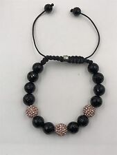 10mm Shamballa Beaded Adjustable Bracelet Genuine Black Onyx.  Hand Set Crystals