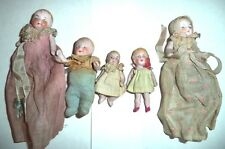 5 Small & Very Small Antique German All Bisque Jointed Dolls Marked in GUC