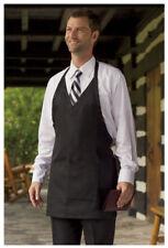 "Bib Apron, V-Neck, Pockets, Color: Black, Size: 28"" W x 32"" L - 3041"