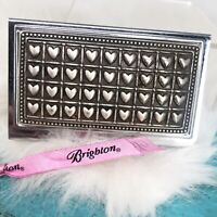 Brighton Puffy Hearts Silver Hearts Business Card Case Holder Compact