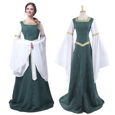 52893adb333dd3 Medieval Renaissance Bell Sleeve Green Celtic Queen Gown Cosplay Dress  Costume L