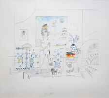 "SAUL STEINBERG Signed 1970 Original Color Lithograph - ""Portrait of R."""