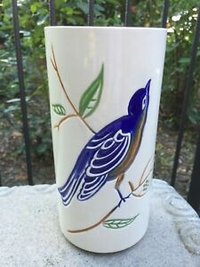 "Beautiful Cylinder Flower Bird Ceramic Vase 262 USA 8"" x 4"""