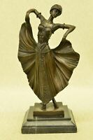 Art Deco Flair Dancer Bronze Sculpture by Chiparus Statue Marble Figurine Decor