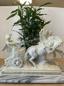 """1960's A. Santini Sculpture Italy Large Roman Chariot Horse Warrior 14"""" Vintage"""