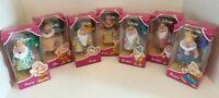 Disney 7 Snow White Seven Dwarfs Figure Dolls In Nightgowns, BNIB