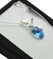 925 Sterling Silver Necklace with Swarovski Crystals *Aquamarine AB * Elf/Fairy
