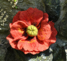 HANDMADE FELTED WOOL BROOCH/CORSAGE/PIN WET FELTING POPPY FLOWER RED GREEN ORANG
