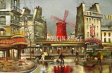 """Oil painting on canvas   """" Paris - Moulin Rouge """" Size:36""""x24"""""""