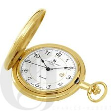 New Charles-Hubert Gold-Plated Hunter Case Quartz Pocket Watch with Chain 3517