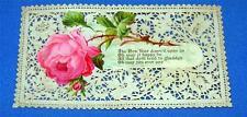 "Vtg German 5"" 1880 Paper Lace Victorian Scrap Die Cut New Years Card, Crafts"